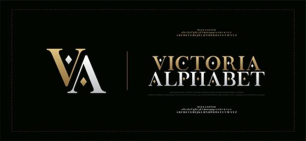 Fuente y número serif elegantes de las letras del alfabeto