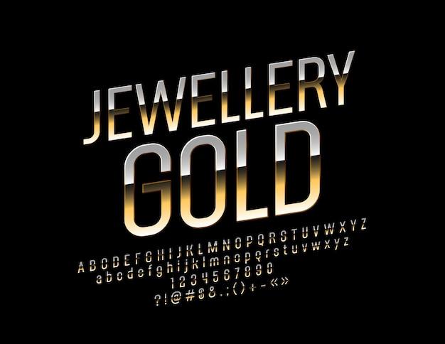 Fuente de oro. letras, números y símbolos del alfabeto de lujo