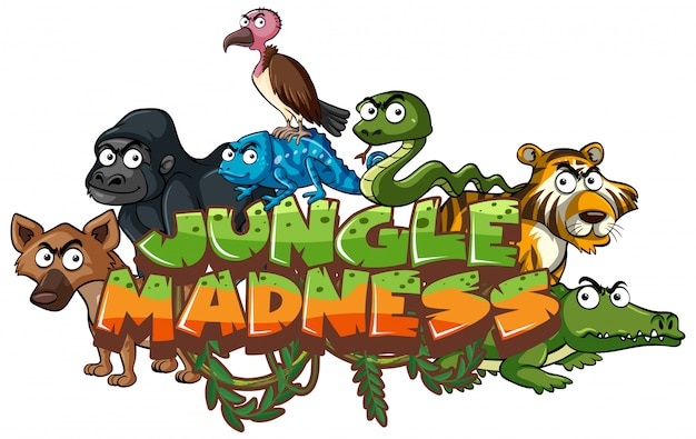 Fuente para la palabra locura de la jungla con animales salvajes
