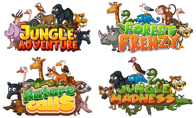 Fuente para la palabra relacionada con la selva con animales salvajes en blanco