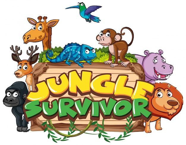 Fuente para la palabra sobreviviente de la jungla con animales salvajes