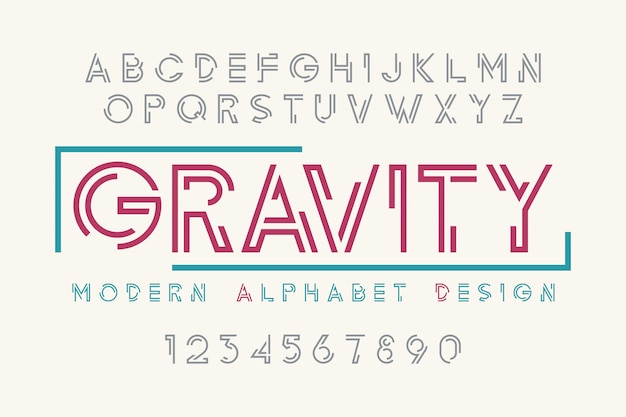 Fuente de pantalla moderna, alfabeto, juego de caracteres, tipografía