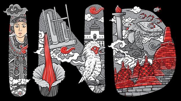 Fuente personalizada letras doodle ilustración tradicional bailarín bali flor pájaro y borobudur de indonesia
