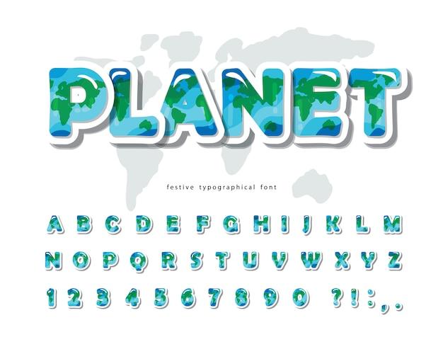 Fuente planeta tierra. alfabeto creativo para el medio ambiente, ecología.