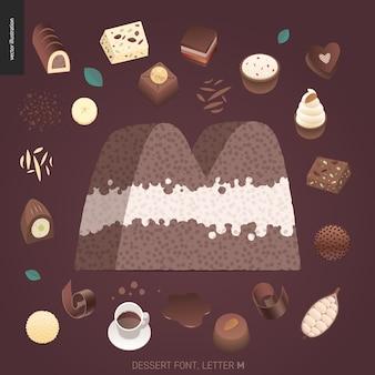 Fuente del postre - letra m - ejemplo digital del concepto plano moderno del vector de la fuente de la tentación, letras dulces. cartas de caramelo, toffee, galletas, gofres, galletas, crema y chocolate.