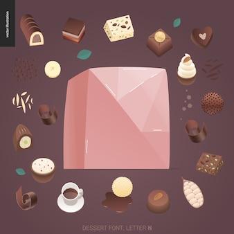 Fuente del postre - letra n - ejemplo digital del concepto plano moderno del vector de la fuente de la tentación, letras dulces. cartas de caramelo, toffee, galletas, gofres, galletas, crema y chocolate.