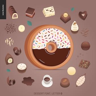 Fuente del postre - letra o - ejemplo digital del concepto plano moderno del vector de la fuente de la tentación, letras dulces. cartas de caramelo, toffee, galletas, gofres, galletas, crema y chocolate.
