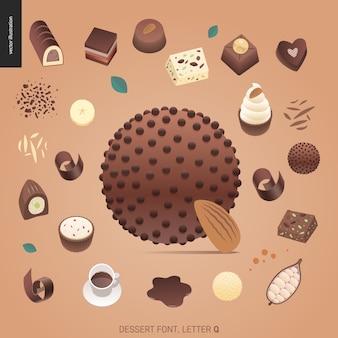 Fuente del postre - letra q - ejemplo digital del concepto plano moderno del vector de la fuente de la tentación, letras dulces. cartas de caramelo, toffee, galletas, gofres, galletas, crema y chocolate.