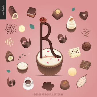 Fuente del postre - letra r - ejemplo digital del concepto plano moderno del vector de la fuente de la tentación, letras dulces. cartas de caramelo, toffee, galletas, gofres, galletas, crema y chocolate.
