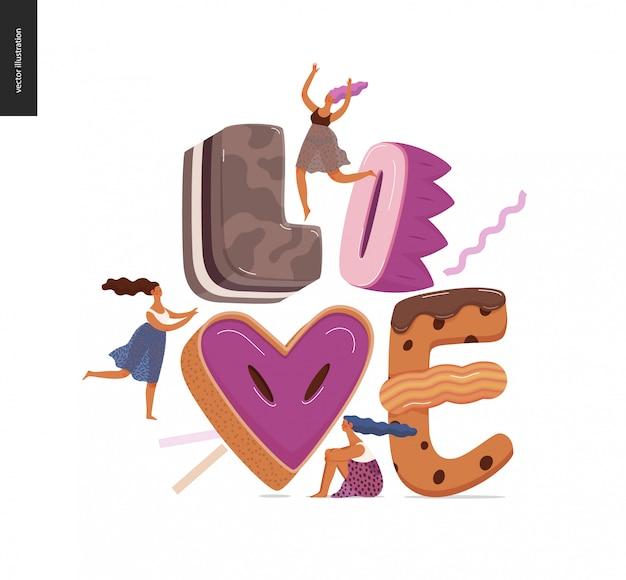 Fuente de postre letras amor
