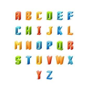 Fuente retro 3d. letras del alfabeto