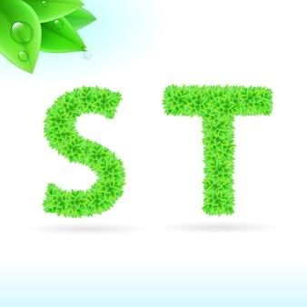 Fuente sans serif con decoración de hojas verdes.