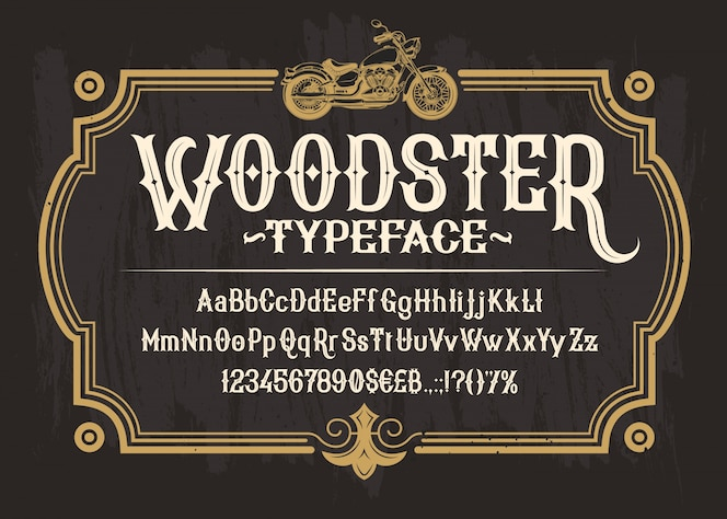 Fuente serif blanca, alfabeto, números y símbolos