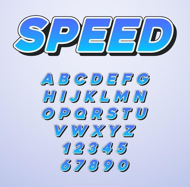 Fuente speed italic con letras y números