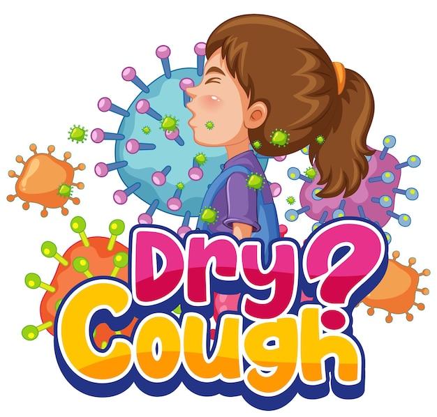 Fuente de tos seca en estilo de dibujos animados con una niña estornudando aislada sobre fondo blanco