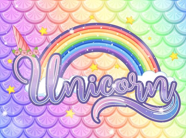 Fuente de unicornio sobre fondo de escamas de pescado de arco iris pastel