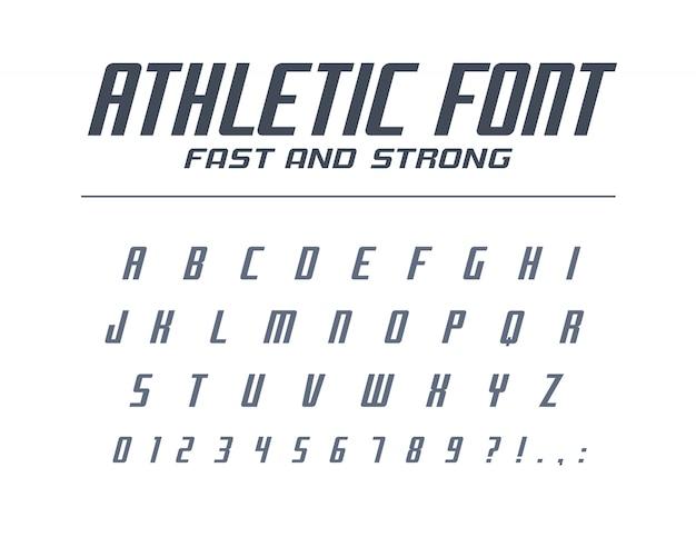 Fuente universal atlética rápida y fuerte. sport run, futurista, alfabeto de tecnología. letras, números para energía, industria energética, logotipo de carreras de autos de alta velocidad. tipografía minimalista moderna