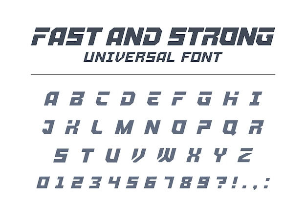 Fuente universal rápida, fuerte y de alta velocidad. deporte, futurista, tecnología, futuro alfabeto. letras, números para la industria militar, logotipo de carreras de autos eléctricos. tipografía minimalista moderna