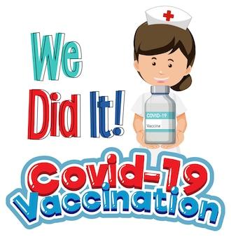 Fuente de vacunación covid-19 con un personaje de dibujos animados de enfermera