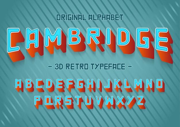 Fuente de vector stock conjunto alfabeto 3d. letra de letra retro, plantilla de fuente.