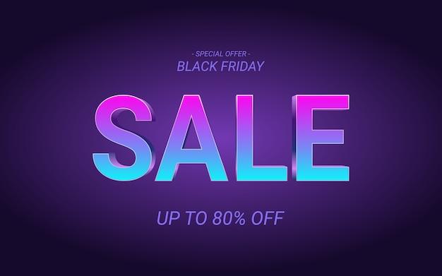 Fuente de venta de viernes negro efecto 3d en fondo de color de luz de neón