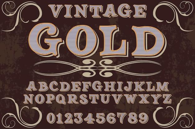 Fuente vintage estilo gráfico dorado