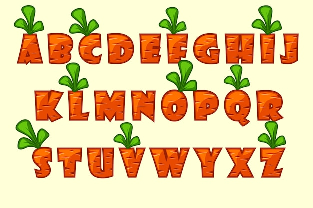 Fuente de zanahoria de dibujos animados