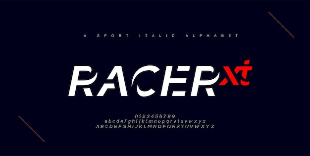 Fuentes del alfabeto en cursiva urbana moderna del deporte. tipografía, tecnología abstracta, moda, digital, fuente de logotipo creativo futuro.