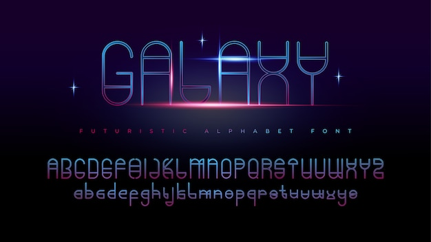 Fuentes del alfabeto galaxy futurista moderno con efecto de texto