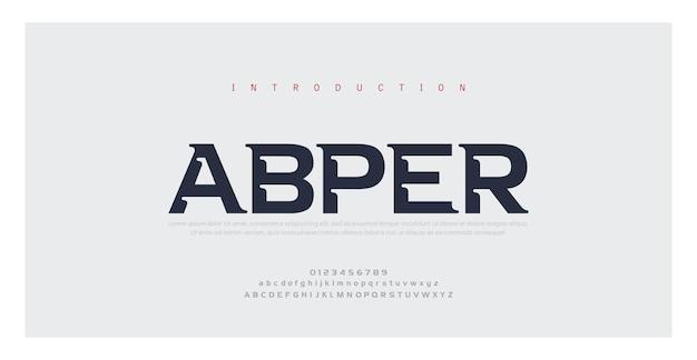 Fuentes del alfabeto mínimo moderno abstracto. tipografía estilo urbano para diversión, deporte, tecnología, moda, digital, fuente de logotipo creativo futuro.
