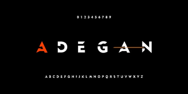 Fuentes de alfabeto moderno abstracto tecnología digital fuerte