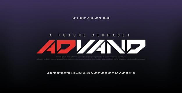 Fuentes del alfabeto moderno digital abstracto