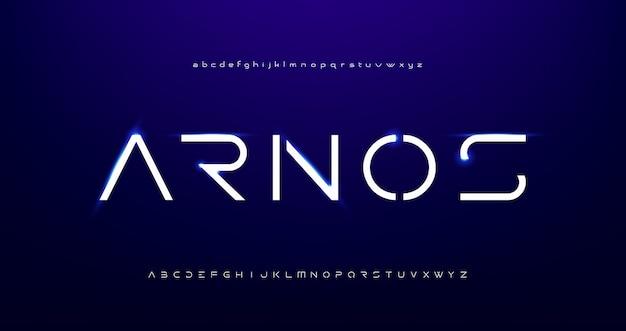 Fuentes del alfabeto moderno futurista digital abstracto