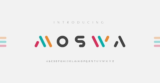 Fuentes del alfabeto moderno mínimo.