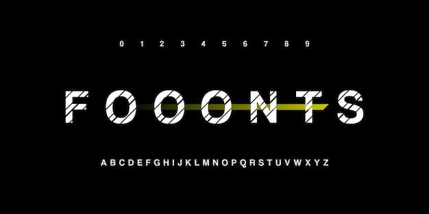 Fuentes de alfabeto de tipografía rayada y conjunto de números