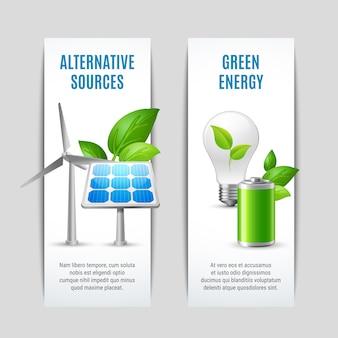 Fuentes alternativas y pancartas de energía verde