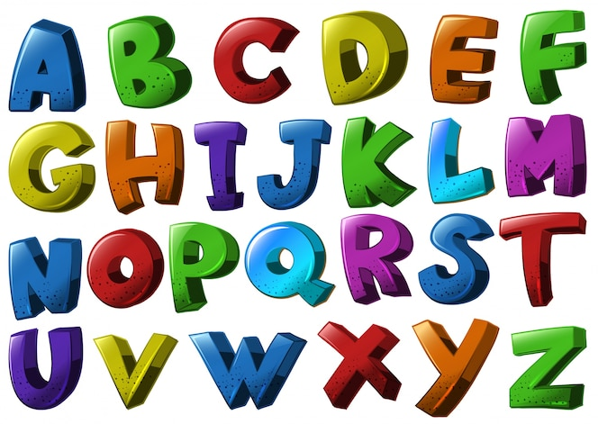 Fuentes del alfabeto inglés en diferentes colores