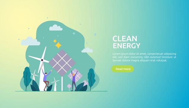 Fuentes de energía eléctrica verde renovables y medio ambiente limpio.