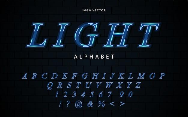 Fuentes futuristas abstractas del alfabeto azul