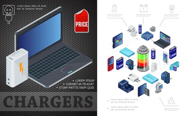 Fuentes isométricas de composición de carga con el banco de energía de la computadora portátil enchufa cargadores de baterías para dispositivos modernos