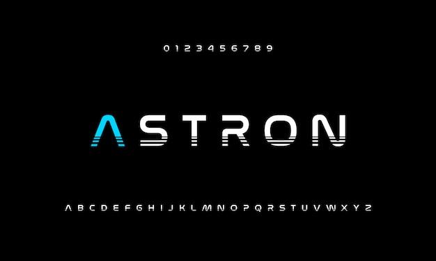 Fuentes modernas del alfabeto de acción deportiva futurista