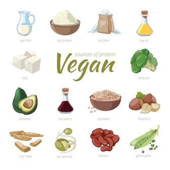 Fuentes veganas de proteínas. imágenes prediseñadas de proteína a base de plantas en estilo de dibujos animados. guisantes y alubias, avellanas y aguacate, brócoli y soja