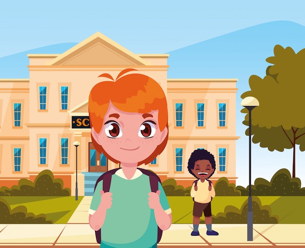 Fuera del edificio, niños, estudiantes, regreso al colegio