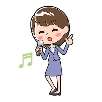 Fuera de línea mujer de negocios canción cantando