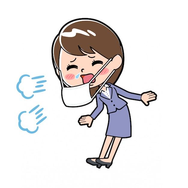 Fuera de línea mujer de negocios estornudo