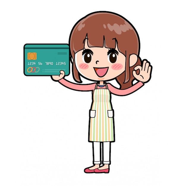 Fuera de línea de la tarjeta de crédito mamá de delantal