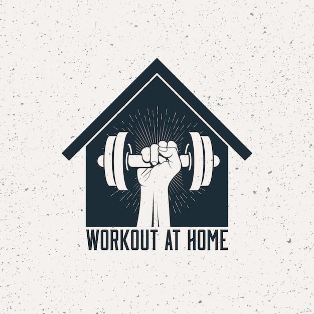 Fuerte brazo levantado con mancuernas en la silueta de la casa.