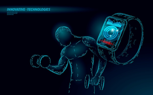 Fuerte deportista peso 3d poligonal fitness rastreador concepto.