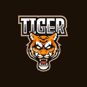 Fuerte diseño de mascota con el logotipo del equipo tiger e-sport