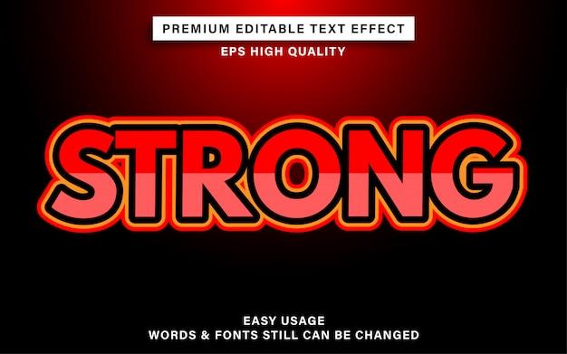 Fuerte efecto de estilo de texto editable rojo